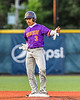Cortland Crush Javier Rosa (3) celebrates getting to Second Base and his RBI against the Syracuse Salt Cats in New York Collegiate Baseball League action at OCC Turf Field in Syracuse, New York on Tuesday, June 22, 2021. Cortland won 6-4.