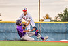 Cortland Crush Alexis Castillo (26) gets tagged out at Second Base by Syracuse Salt Cats Craig Alleyne (7) in New York Collegiate Baseball League action at OCC Turf Field in Syracuse, New York on Tuesday, June 22, 2021. Cortland won 6-4.