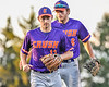 Cortland Crush Rob Ciulla (13) and Michael Breen (6) jog in after an inning against the Syracuse Salt Cats in New York Collegiate Baseball League action at OCC Turf Field in Syracuse, New York on Tuesday, June 22, 2021. Cortland won 6-4.