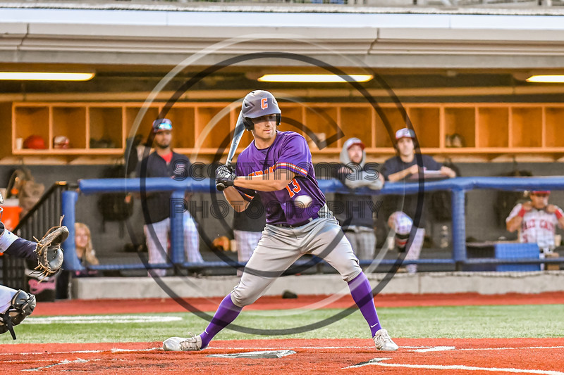 Cortland Crush Rob Ciulla (13) at bat against the Syracuse Salt Cats in New York Collegiate Baseball League action at OCC Turf Field in Syracuse, New York on Tuesday, June 22, 2021. Cortland won 6-4.