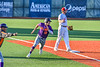 """Cortland Crush Brandon """"Buzz"""" Shirley (18) rounds Third Base to score a run against the Syracuse Salt Cats in New York Collegiate Baseball League action at OCC Turf Field in Syracuse, New York on Tuesday, June 22, 2021. Cortland won 6-4."""