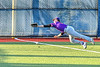 Cortland Crush Jason Boule (7) stretches out but misses a foul bal against the Syracuse Salt Cats in New York Collegiate Baseball League action at OCC Turf Field in Syracuse, New York on Tuesday, June 22, 2021. Cortland won 6-4.