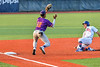 Cortland Crush Third Baseman Justice Welch (12) catches the ball and tags Syracuse Salt Cats Alexander Ferlenda (18) out in New York Collegiate Baseball League action at OCC Turf Field in Syracuse, New York on Tuesday, July 6, 2021. Game ended in a 3-3 tie.