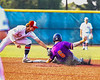 Cortland Crush Michael Breen (6) tagged out trying to steal Second Base against the Syracuse Salt Cats in New York Collegiate Baseball League action at OCC Turf Field in Syracuse, New York on Tuesday, July 6, 2021. Game ended in a 3-3 tie.