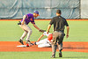 Cortland Crush Michael Breen (6) catches the ball and tags the Syracuse Salt Cats player out at Second Base in New York Collegiate Baseball League action at OCC Turf Field in Syracuse, New York on Tuesday, July 6, 2021. Game ended in a 3-3 tie.
