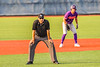Infield Umpire working the Cortland Crush New York Collegiate Baseball League game against the Syracuse Salt Cats at OCC Turf Field in Syracuse, New York on Tuesday, July 6, 2021. Game ended in a 3-3 tie.