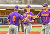 Cortland Crush Manager Bill McConnell greets Crush players Jason Boule (7) and Nicholas Pastore (1) after an inning against the Syracuse Salt Cats in New York Collegiate Baseball League action at OCC Turf Field in Syracuse, New York on Tuesday, July 6, 2021. Game ended in a 3-3 tie.