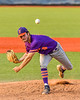 """Cortland Crush Brandon """"Buzz"""" Shirley (18) pitching against the Syracuse Salt Cats in New York Collegiate Baseball League action at OCC Turf Field in Syracuse, New York on Tuesday, July 6, 2021. Game ended in a 3-3 tie."""