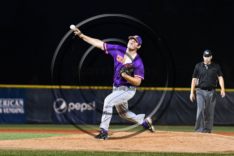 Cortland Crush Jackson Krueger (33) ptiching against the Syracuse Salt Cats in New York Collegiate Baseball League action at OCC Turf Field in Syracuse, New York on Tuesday, July 6, 2021. Game ended in a 3-3 tie.