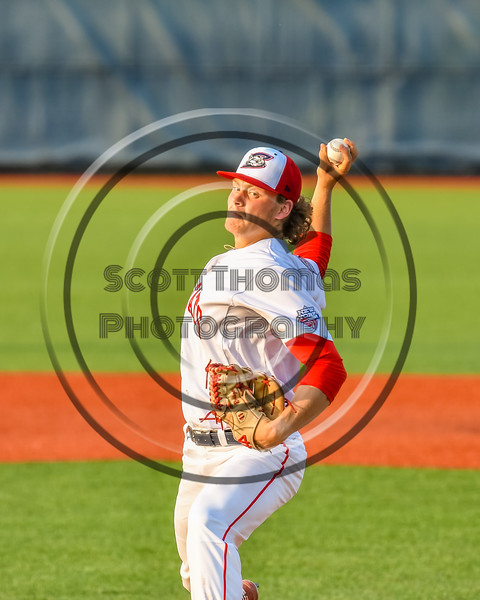 Syracuse Salt Cats Maxwell Bain (32) pitching against the Cortland Crush in New York Collegiate Baseball League action at OCC Turf Field in Syracuse, New York on Tuesday, July 6, 2021. Game ended in a 3-3 tie.