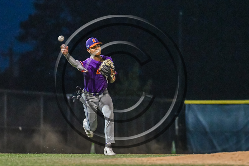 Cortland Crush Justice Welch (12) throwing the ball against the Syracuse Salt Cats in New York Collegiate Baseball League action at OCC Turf Field in Syracuse, New York on Tuesday, July 6, 2021. Game ended in a 3-3 tie.