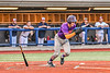 Cortland Crush Zach Marriott (5) after hitting the ball against the Syracuse Salt Cats in New York Collegiate Baseball League action at OCC Turf Field in Syracuse, New York on Tuesday, July 6, 2021. Game ended in a 3-3 tie.