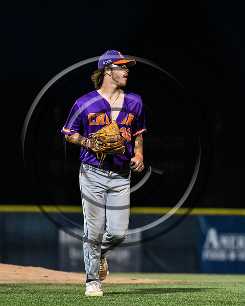Cortland Crush Matthew Sorrells (30) leaving the mound against the Syracuse Salt Cats in New York Collegiate Baseball League action at OCC Turf Field in Syracuse, New York on Tuesday, July 6, 2021. Game ended in a 3-3 tie.