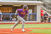 Cortland Crush Justice Welch (12) heads to First Base after hitting the ball against the Syracuse Salt Cats in New York Collegiate Baseball League action at OCC Turf Field in Syracuse, New York on Tuesday, July 6, 2021. Game ended in a 3-3 tie.