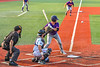 Cortland Crush Jason Boule (7) at bat against the Syracuse Salt Cats in New York Collegiate Baseball League action at OCC Turf Field in Syracuse, New York on Tuesday, July 6, 2021. Game ended in a 3-3 tie.