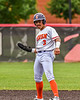 Cortland Crush Javier Rosa (3) celebrates getting to Second Base against the Mansfield Destroyers during the New York Collegiate Baseball League Jamboree at Wallace Field in Cortland, New York on Saturday, July 10, 2021. Cortland won 2-1.