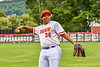 Cortland Crush Lawrence Hamilton (34) warming up between inninngs against the Mansfield Destroyers during the New York Collegiate Baseball League Jamboree at Wallace Field in Cortland, New York on Saturday, July 10, 2021. Cortland won 2-1.