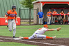 """Cortland Crush First Baseman Brandon """"Buzz"""" Shirley (18) stretches out for a force out against the Mansfield Destroyers during the New York Collegiate Baseball League Jamboree at Wallace Field in Cortland, New York on Saturday, July 10, 2021. Cortland won 2-1."""