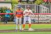 """Cortland Crush Brandon """"Buzz"""" Shirley (18) at Third Base against the Mansfield Destroyers during the New York Collegiate Baseball League Jamboree at Wallace Field in Cortland, New York on Saturday, July 10, 2021. Cortland won 2-1."""