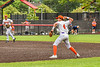Cortland Crush Colt Harris (4) throwing the ball for an out against the Mansfield Destroyers during the New York Collegiate Baseball League Jamboree at Wallace Field in Cortland, New York on Saturday, July 10, 2021. Cortland won 2-1.