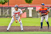 Cortland Crush Michael Breen (6) on base against the Mansfield Destroyers during the New York Collegiate Baseball League Jamboree at Wallace Field in Cortland, New York on Saturday, July 10, 2021. Cortland won 2-1.
