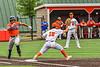 """Cortland Crush First Baseman Brandon """"Buzz"""" Shirley (18) catches the ball for an out against the Mansfield Destroyers during the New York Collegiate Baseball League Jamboree at Wallace Field in Cortland, New York on Saturday, July 10, 2021. Cortland won 2-1."""