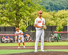 Cortland Crush Dominic Perachi (40) on the mound against the Mansfield Destroyers during the New York Collegiate Baseball League Jamboree at Wallace Field in Cortland, New York on Saturday, July 10, 2021. Cortland won 2-1.