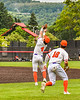 Cortland Crush Colt Harris (4) catching a pop fly for an out against the Mansfield Destroyers during the New York Collegiate Baseball League Jamboree at Wallace Field in Cortland, New York on Saturday, July 10, 2021. Cortland won 2-1.