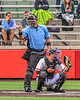 Umpire calls a strike as Cortland Crush Catcher Matthew Ward (20) has the ball against the Mansfield Destroyers during the New York Collegiate Baseball League Jamboree at Wallace Field in Cortland, New York on Saturday, July 10, 2021. Cortland won 2-1.