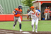 Cortland Crush Dominic Perachi (40) just misses the tag on the Mansfield Destroyers base runner during the New York Collegiate Baseball League Jamboree at Wallace Field in Cortland, New York on Saturday, July 10, 2021. Cortland won 2-1.