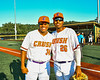 Cortland Crush Lawrence Hamilton (34) and Alexis Castillo (26) after Lawrence throw out the First Pitch at Gutchess Lumber Sports Complex in Cortland, New York on Saturday, July 10, 2021.