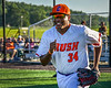 Cortland Crush Lawrence Hamilton (34) being introduced before playing the Dansville Gliders in a New York Collegiate Baseball League Jamboree game at Gutchess Lumber Sports Complex in Cortland, New York on Saturday, July 10, 2021.