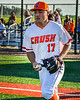 Cortland Crush David Keller (17) being introduced before playing the Dansville Gliders in a New York Collegiate Baseball League Jamboree game at Gutchess Lumber Sports Complex in Cortland, New York on Saturday, July 10, 2021.