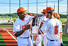 Cortland Crush Lawrence Hamilton (34) and Michael Breen (6) before playing the Dansville Gliders in a New York Collegiate Baseball League Jamboree game at Gutchess Lumber Sports Complex in Cortland, New York on Saturday, July 10, 2021.