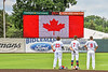 Syracuse Salt Cats standing for the Canadian National Anthem before playing the Cortland Crush on Leo Pinckney Field at Falcon Park in Auburn, New York on Sunday, July 18, 2021.