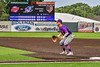 "Cortland Crush Brandon ""Buzz"" Shirley (18) playing First Base against the Syracuse Salt Cats in New York Collegiate Baseball League action on Leo Pinckney Field at Falcon Park in Auburn, New York on Sunday, July 18, 2021. Cortland won 4-3."