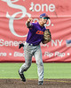 Cortland Crush Michael Breen (6) throwing the ball against the Syracuse Salt Cats in New York Collegiate Baseball League action on Leo Pinckney Field at Falcon Park in Auburn, New York on Sunday, July 18, 2021. Cortland won 4-3.