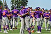 Cortland Crush players celebrating the win over the Syracuse Salt Cats in a New York Collegiate Baseball League game on Leo Pinckney Field at Falcon Park in Auburn, New York on Sunday, July 18, 2021. Cortland won 4-3.