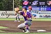 Cortland Crush Infielders team up to run down Syracuse Salt Cats James Coyne (23) in New York Collegiate Baseball League action on Leo Pinckney Field at Falcon Park in Auburn, New York on Sunday, July 18, 2021. Cortland won 4-3.