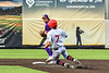 Cortland Crush Second Baseman Colt Harris (4) turns a Double Play against the Syracuse Salt Cats in New York Collegiate Baseball League action on Leo Pinckney Field at Falcon Park in Auburn, New York on Sunday, July 18, 2021. Cortland won 4-3.