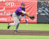 Cortland Crush Short Stop Michael Breen (6) tosses the ball to Second Base to start a Double Play against the Syracuse Salt Cats in New York Collegiate Baseball League action on Leo Pinckney Field at Falcon Park in Auburn, New York on Sunday, July 18, 2021. Cortland won 4-3.