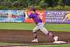 """Cortland Crush Brandon """"Buzz"""" Shirley (18) catches the ball for the final out at First Base against the Syracuse Salt Cats in New York Collegiate Baseball League action on Leo Pinckney Field at Falcon Park in Auburn, New York on Sunday, July 18, 2021. Cortland won 4-3."""