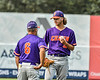 Cortland Crush Manager Bill McConnell talking with Pitcher Matthew Sorrells (30) on the mound against the Syracuse Salt Cats in New York Collegiate Baseball League action on Leo Pinckney Field at Falcon Park in Auburn, New York on Sunday, July 18, 2021. Cortland won 4-3.