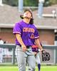 Cortland Crush David Keller (17) keeping an eye on a pop fly against the Syracuse Salt Cats in New York Collegiate Baseball League action on Leo Pinckney Field at Falcon Park in Auburn, New York on Sunday, July 18, 2021. Cortland won 4-3.