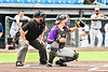 Cortland Crush Matthew Ward (20) catching against the Syracuse Salt Cats in New York Collegiate Baseball League action on Leo Pinckney Field at Falcon Park in Auburn, New York on Sunday, July 18, 2021. Cortland won 4-3.