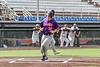 Cortland Crush Matthew Ward (20) scores on a wild pitch against the Syracuse Salt Cats in New York Collegiate Baseball League action on Leo Pinckney Field at Falcon Park in Auburn, New York on Sunday, July 18, 2021. Cortland won 4-3.