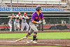 """Cortland Crush Brandon """"Buzz"""" Shirley (18) heading to First Base after a hit against the Syracuse Salt Cats in New York Collegiate Baseball League action on Leo Pinckney Field at Falcon Park in Auburn, New York on Sunday, July 18, 2021. Cortland won 4-3."""