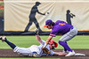 Cortland Crush Colt Harris (4) tags the Syracuse Salt Cats base runner in New York Collegiate Baseball League action on Leo Pinckney Field at Falcon Park in Auburn, New York on Sunday, July 18, 2021. Cortland won 4-3.
