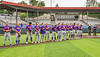 Cortland Crush players standing for the National Anthem before playing the Syracuse Salt Cats on Leo Pinckney Field at Falcon Park in Auburn, New York on Sunday, July 18, 2021.