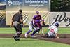 Cortland Crush Colt Harris (4) tags out Syracuse Salt Cats Alexander Ferlenda (18) at Second Base in New York Collegiate Baseball League action on Leo Pinckney Field at Falcon Park in Auburn, New York on Sunday, July 18, 2021. Cortland won 4-3.